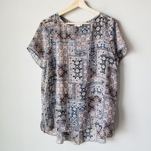 J Jill Patterned Short Sleeve Sheer Blouse Small